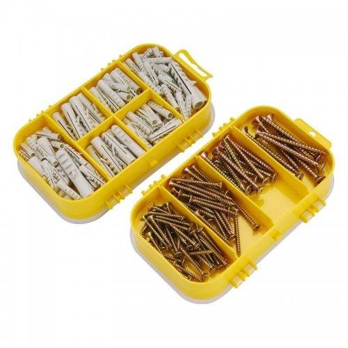Vruty s hmoždinkami 4 rozměry 170ks v plastové krabičce EXTOL CRAFT 1445