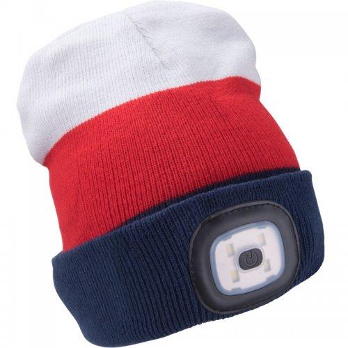 Čepice s čelovkou bílá/červená/modrá EXTOL LIGHT 43450