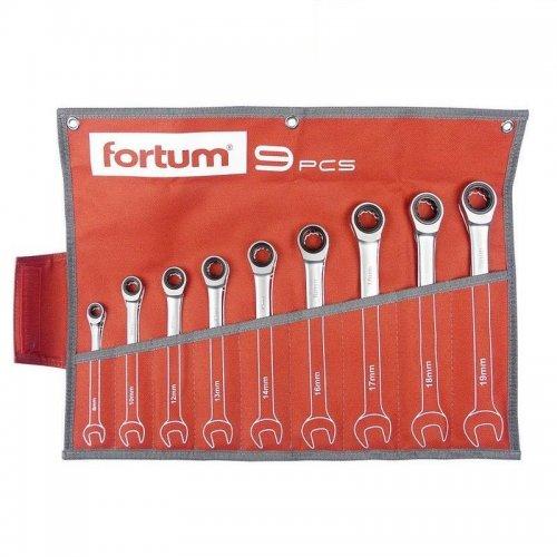 Klíče ráčnové očkoploché sada 9ks FORTUM 4720104