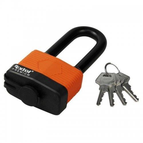 Zámek visací voděodolný prodloužený 65mm 4 klíče zacvakávací EXTOL PREMIUM 8857665