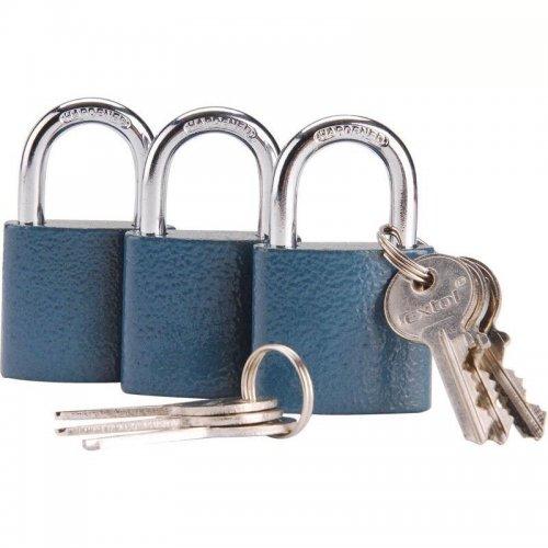 Zámky visací sjednocené na jeden klíč sada 3 kusů 6 klíčů EXTOL CRAFT 93101