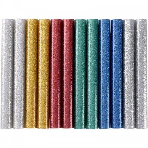 Tavné tyčinky mix barev se třpytem (glitter) průměr 11x100mm 12ks EXTOL CRAFT 9911