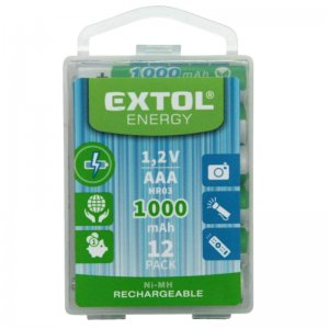 Nabíjecí baterie, 12ks, AAA (HR03), 1,2V, 1000mAh, NiMh, EXTOL ENERGY 42062