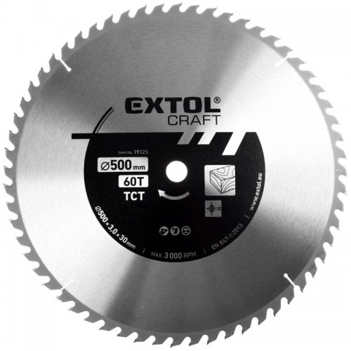 Kotouč pilový s SK plátky 500x3,0x30mm, 60T Extol Craft 19125