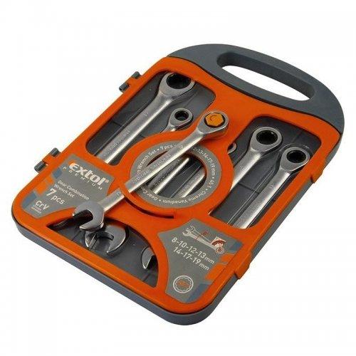 Klíče ráčnové očkoploché sada 7ks 8-19mm EXTOL PREMIUM 8816100
