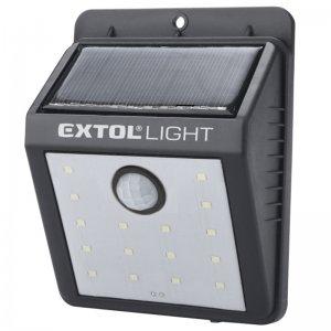 Nástěnné světlo 3,7V 120lm Li-ion s pohybovým čidlem a solárním nabíjením EXTOL LIGHT 43130