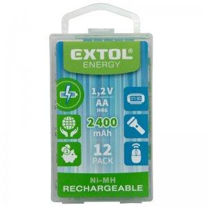 Nabíjecí baterie, 12ks, AA (HR6), 1,2V, 2400mAh, NiMh, EXTOL ENERGY 42063